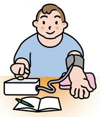 血圧を正しく測る男性